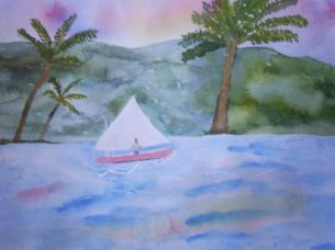 children's illustration, sailboat, palm trees, watercolor
